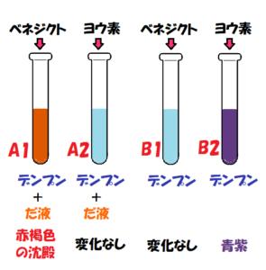 デンプン入りの試験管4つだ液と指示薬入り色の変化