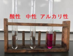 酸性・中性・アルカリ性でのフェノールフタレイン液の色の変化