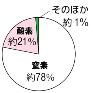 空気中の気体の円グラフ
